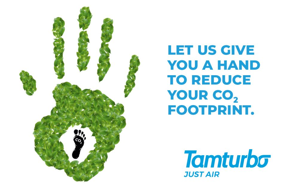 Carbon handprint concept how to reduce carbon footprint compressed air