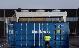 Tamturbo Modular Compressor Room with TT325 air compressor on the yard of the factory